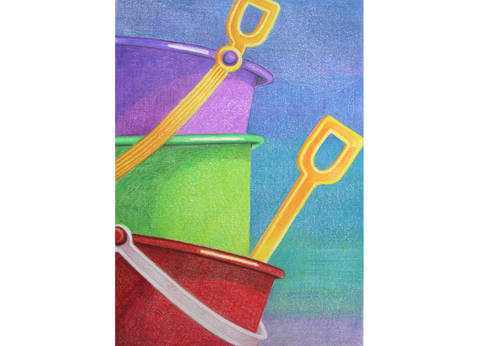 Sand Buckets - Colored Pencil